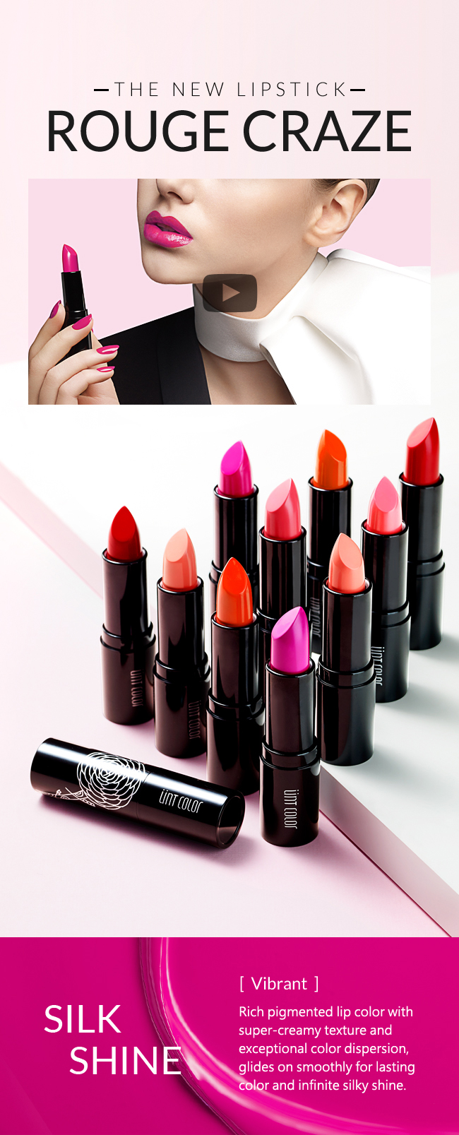 New lipstick. Rouge Craze. Silk Shine. Rich pigmented lip color with super-creamy texture and exceptional color dispersion, glides on smoothly for lasting color and infinite silky shine.
